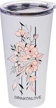 LILY AND ROSE PINK - Drinkbeker met rietje - RVS - Mat wit/ Roze bloemen - 480 ml
