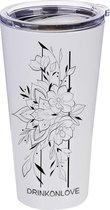 LILY AND ROSE - Drinkbeker met rietje - RVS - mat wit/bloemen - 480ml