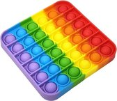 Pop It Fidget Toy Vierkant - Rainbow- Gezien op Ti