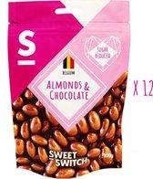 SWEET-SWITCH® - Amandelen in Chocolade - Snoep - Bonbons - Amandel - Suikerarm - KETO - 12 x 100 g