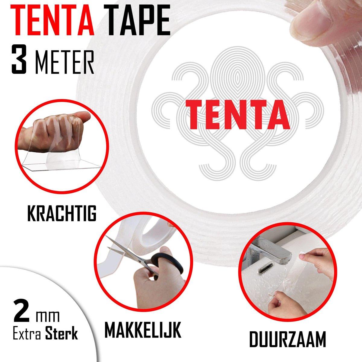 TENTA® Tape - Dubbelzijdig Tape - Montagetape - 3 Meter - Super Sterk - Transparant - Waterproof - H