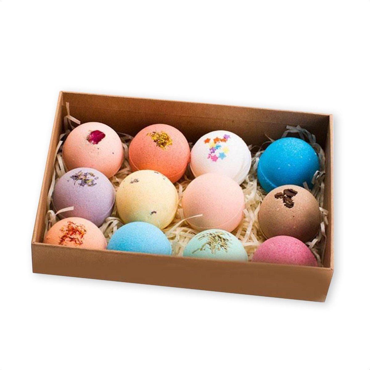 SensaHome 100% Natuurlijke Bruisballen voor in Bad - 12 Etherische Aroma Badbommen - Handmade Bath B