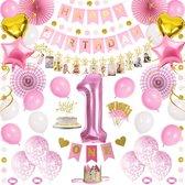 Partizzle® 1 Jaar Jarig Verjaardag Versiering Set - Baby Kind - 1ste Verjaardagskroon - Happy Birthday Slinger Ballonnen - Meisje