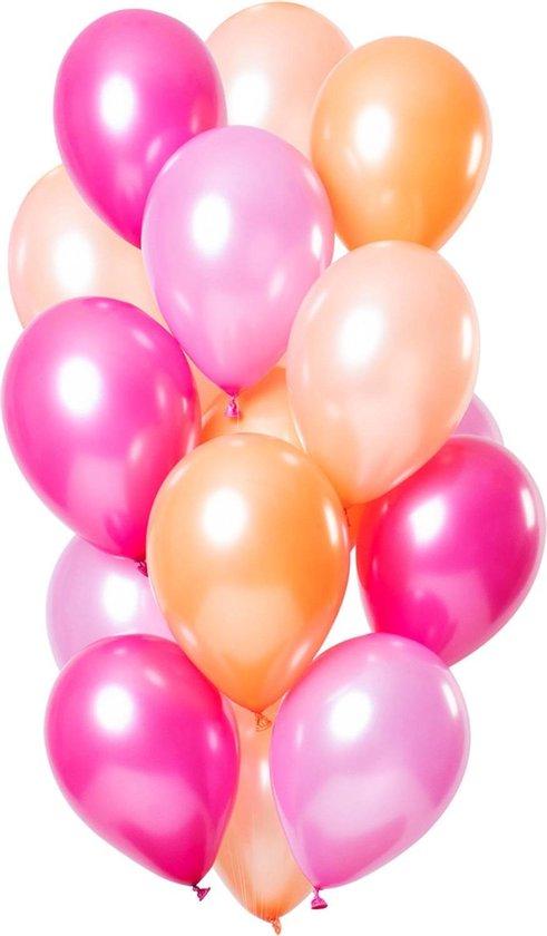 Ballonnen Set Peachy Flamingo - 15 ballonnen roze pink abrikoos
