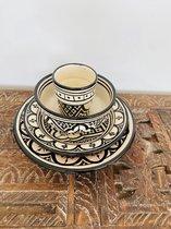 Traditionele soepkommen set | Set van 4 | Handgemaakte Asfi Zwart| Marokkaanse Aardewerk | Beldi