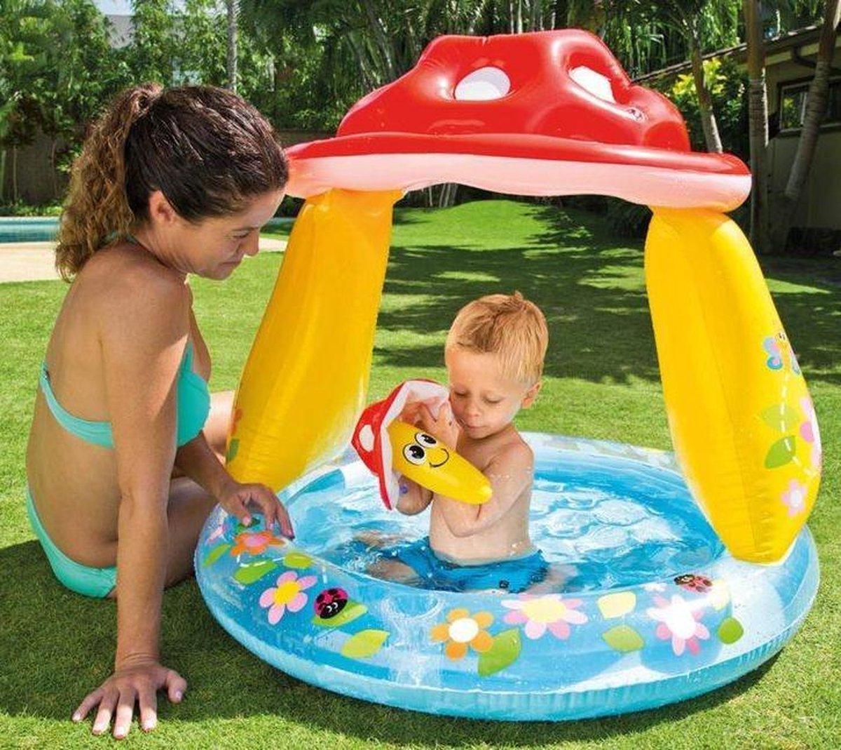 Intex baby zwembad met comfortabele bodem en zonwering - 1 t/m 3 jaar - 102 x 89 cm - babybadje