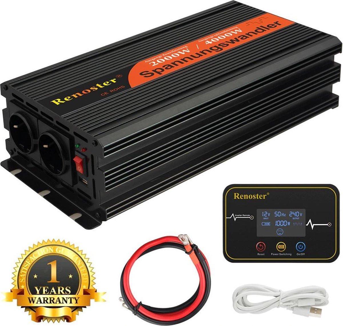 Renoster Zuivere Omvormer 12v 230v - 1x Stopcontact -  1x USB - 1000W/2000W inverter + Draadloze Afs