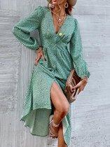 MKL - Dames zomerjurk - Boho Vrolijke Bloemetjes Jurk Knoop - Franse Mode Vrouwen Groene Bloemen Print Jurk V-hals Vintage Lange Mouw Dames Midi Jurk Maat S
