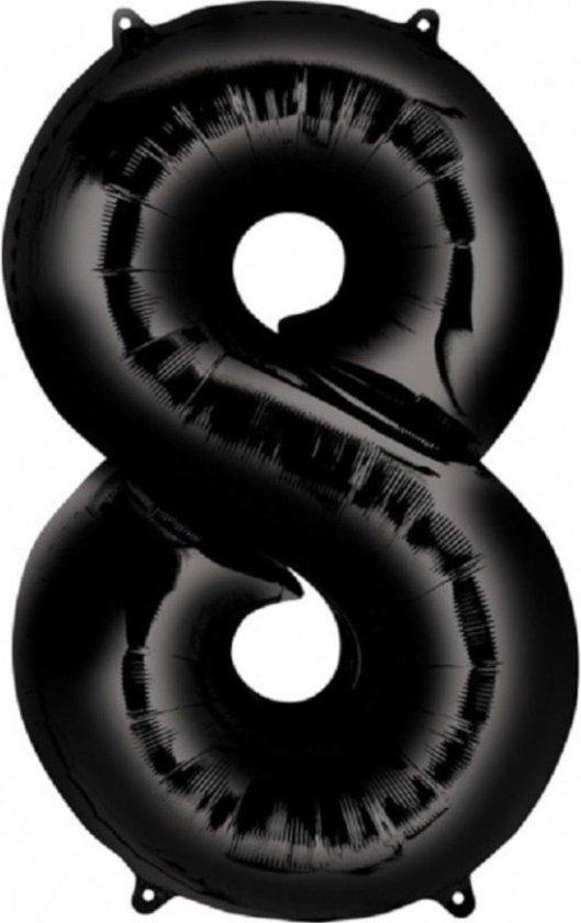 Ballon Cijfer 8 Jaar Zwart 36Cm Verjaardag Feestversiering Met Rietje