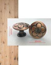 Meubelknop brons inclusief bevestigingsbout | 3cm | Meubelhandvat bloem | Landelijke greep | Industriële Keukengreep | Hand Grepen | Knop Robuust | Deurgreep Staal | Metaal | Strak Meubelbeslag | schuifdeur | Handvat | Greep |