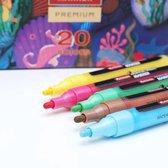 Premium Acryl Verf Stiften 2 MM - 20 Kleuren - - Acrylstiften Voor Stenen Schilderen - Acrylverf Stiften - Tekenset -