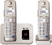 PANASONIC KX-TGE222GN Duo DECT - in fraaie CHAMGPAGNE-kleur - beantwoorder - 2 handsets