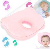 Baby Kussen Plat Hoofd - Slaapondersteuning Hoofdkussen - 0-12 Maanden - Orthopedisch - Kraampakket - Moederdag - Kraamcadeau - Roze