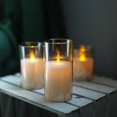 LED Kaarsen met bewegende vlam - Incl. Batterijen en Afstandsbediening - Set van 3 stuks - Amber kleur