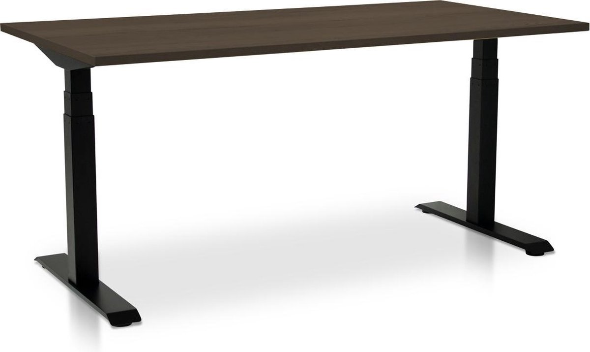Zit-sta bureau elektrisch verstelbaar - MRC PRO-L | 180 x 80 cm | frame zwart - blad bruin eiken - met kabelmanagement | memory functie met 4 standen | 150kg draagvermogen