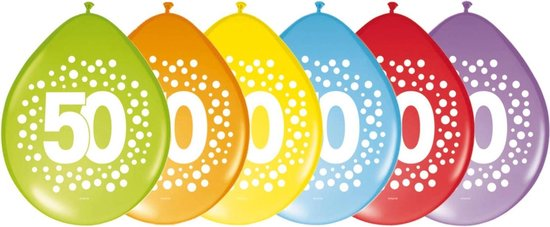 40x stuks verjaardag leeftijd party ballonnen in 50 jaar thema - Opgeblazen 29 cm - Feestartikelen/versieringen