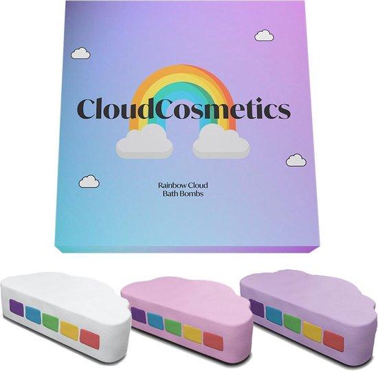 CloudCosmetics - Regenboog Bruisbal Giftset - 3 Stuks - Lavendel, Aardbei en Kokos - Kleurrijk Genieten In Bad - Vegan - Eco Friendly - Handmade - Giftset - Aromatherapie - Bath Bombs - cadeauverpakking