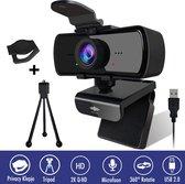 Webcam - 4 MP - Webcam met Microfoon en Tripod! - 2K - 30FPS - 2560x1440 - Webcams - Gaming - Webcam voor PC - Plug&Play - Tripod - Webcam cover - Laptop Camera - Webcam voor Computer - Windows/IO - Teams - Zoom - USB 2.0 - Werk & thuis