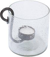 """Glazen vaas met metalen kaarsenhouder """"Ties"""", afmeting: 10 x 10 cm - Leeff - Transparant"""