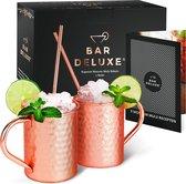 Moscow Mule Bekers van BarDeluxe® - 2 Stuks - Handgemaakt - Koperen Bekers - Roestvrij - 400ml - Inclusief 2 Koperen Rietjes en Receptenboek - Luxe Verpakking