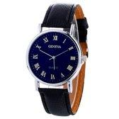 Fako® - Horloge - Geneva Blue - Plastic - Zwart