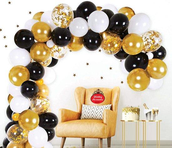 50 stuks Chique Party ballonnen pakket - Nedville - Luxe Ballonnen Confetti goud, chrome goud, metallic zwart en metallic wit, Helium Ballonnenset, Geboorte, Feest, Verjaardag, Party, Wedding, Gala, Valentijn Incl. ballonsluiters met wit lint