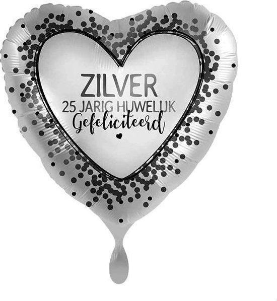 Everloon - Folieballon - Zilveren 25 Jarig Huwelijk - 43cm