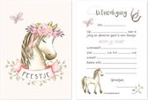 Uitnodiging Kinderfeestje Paard - Verjaardagsfeestje Manege - Paardrijden - Meisje - 10 stuks