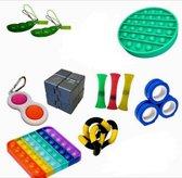 Pop it Fidget toys pakket set - Pop it - Pop All Up® - 13 Delig - Simple dimple  - Twister - Infinity cube - Magnetische ringen - Pea popper - Fidget pad - Mesh-and-marble fidget toy - Incl. Unieke speluitleg