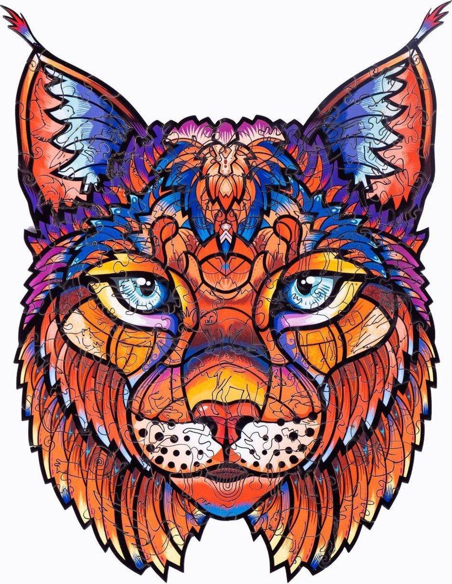 Houten jigsaw puzzel | Dierenfiguur puzzel | Houten dieren Puzzel | Educatieve puzzel | Decoratief | Houten Legpuzzel | Wooden Animal Jigsaw Puzzle | Breinbreker | A3 | Lynx