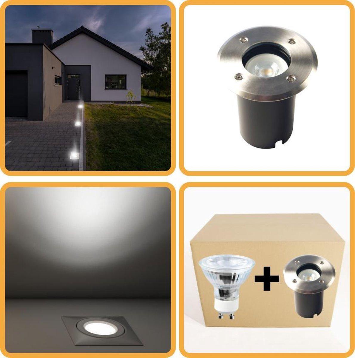 Proventa HeavyDuty LED Grondspot IP67 - Rond - inbouw tuinspot buiten - koud wit