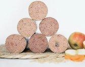 Kivo Petfood 12 x 600 gram MIXDOOS houdbare worst (volle doos): Rund, Kip, Rund & Kip, Kip & Zalm, Eend en Lam. Zacht gestoomd vlees - glutenvrij!