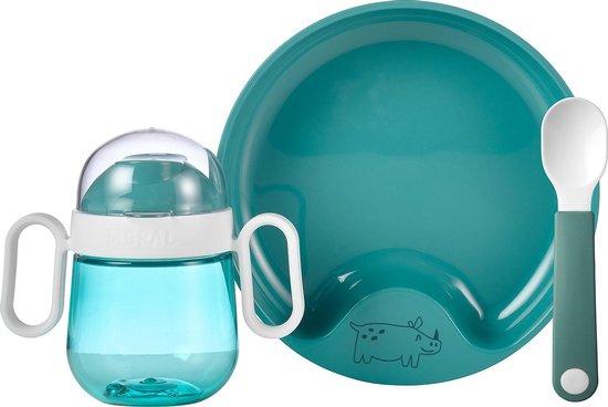 Mepal Mio – Babyservies 3-delig – bestaat uit een oefenbord, antilekbeker en oefenlepel – Deep turquoise – licht in gewicht – kan tegen een stootje