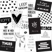 Woonkaarten set 15 stuks Zwart/ wit - Tekst kaart - Quote kaarten - Decoratiekaarten voor in huis
