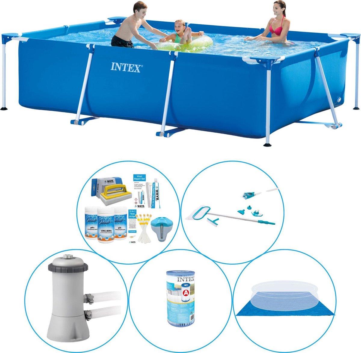 Intex Frame Pool Rechthoekig 300x200x75 cm - 6-delig - Zwembad Met Accessoires