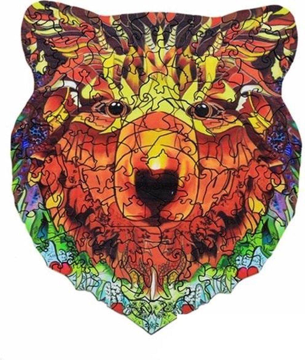 Houten jigsaw puzzel | Dierenfiguur puzzel | Houten dieren Puzzel | Educatieve puzzel | Decoratief | Houten Legpuzzel | Wooden Animal Jigsaw Puzzle | Breinbreker | A4 | Beer