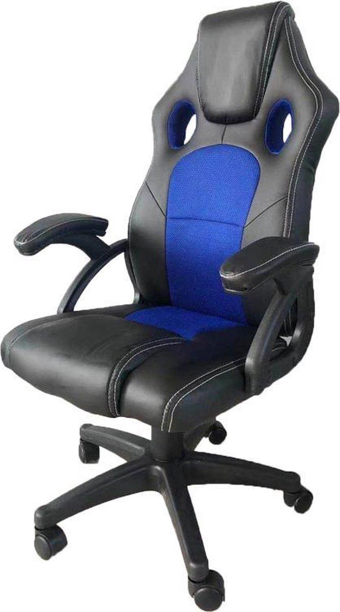 Gamestoel Junior kinderen - bureaustoel - racing gaming stijl - zwart blauw