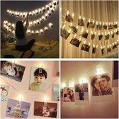 LED Fotoslinger - 2m - 20 LED's - Lampjes slinger - Fotocollage - Mini knijpers - Op batterij