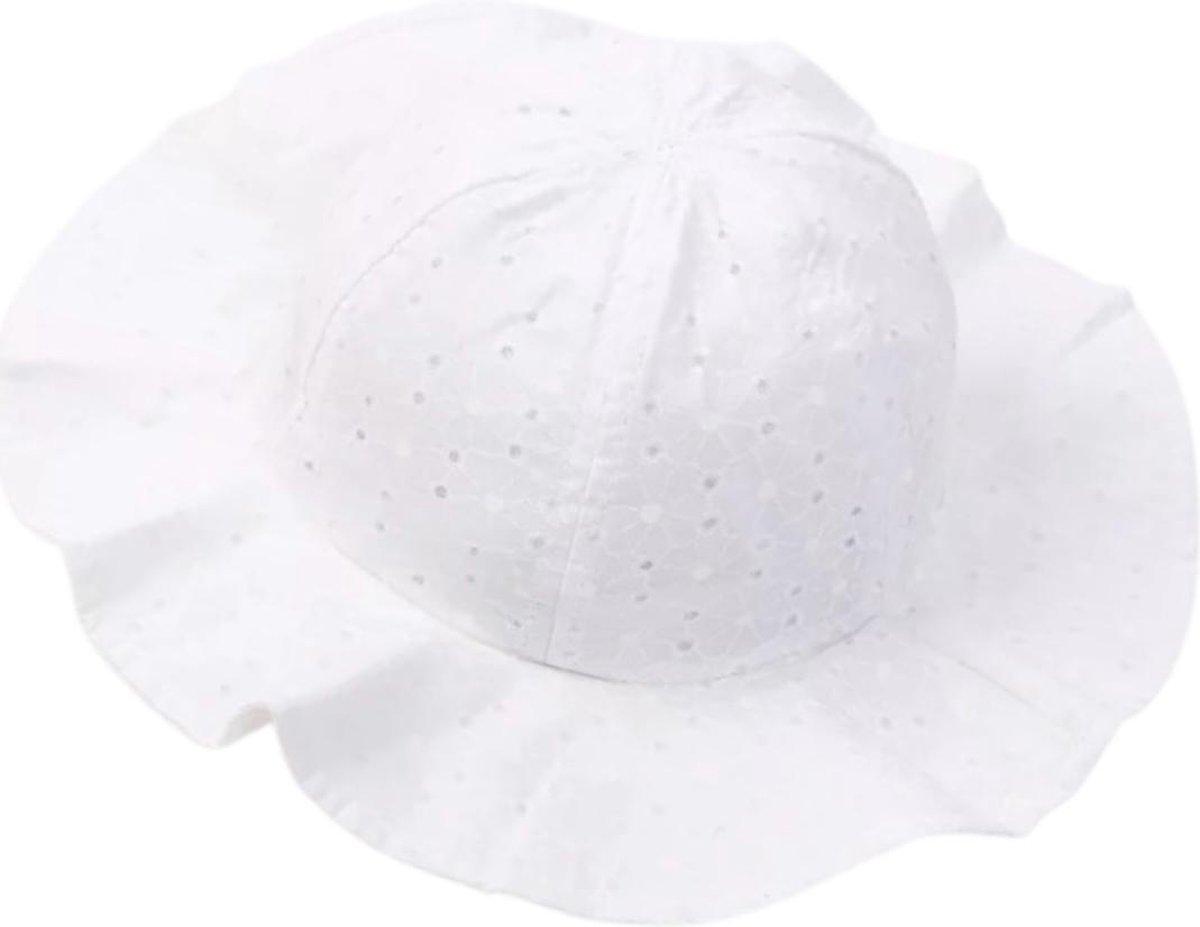Zonnehoedje Baby Hoedje Wit 6 t/m 18 maanden UV Strandhoed Kraamcadeau
