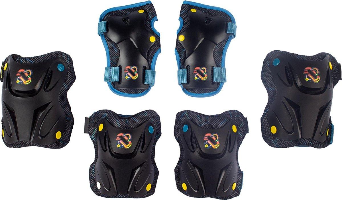 Nijdam Skate Beschermset Kinderen - Path Defender - Zwart/Blauw - M