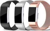 Milanees RVS Band Set voor Fitbit Charge 2 - Small - 3-pack Fitbit Charge 2 Polsbandjes, Zwart / Rosegoud (Rose Gold) / Zilver / Bandjes Activity Tracker / Milanese Stainless Steel FitBit Bandje