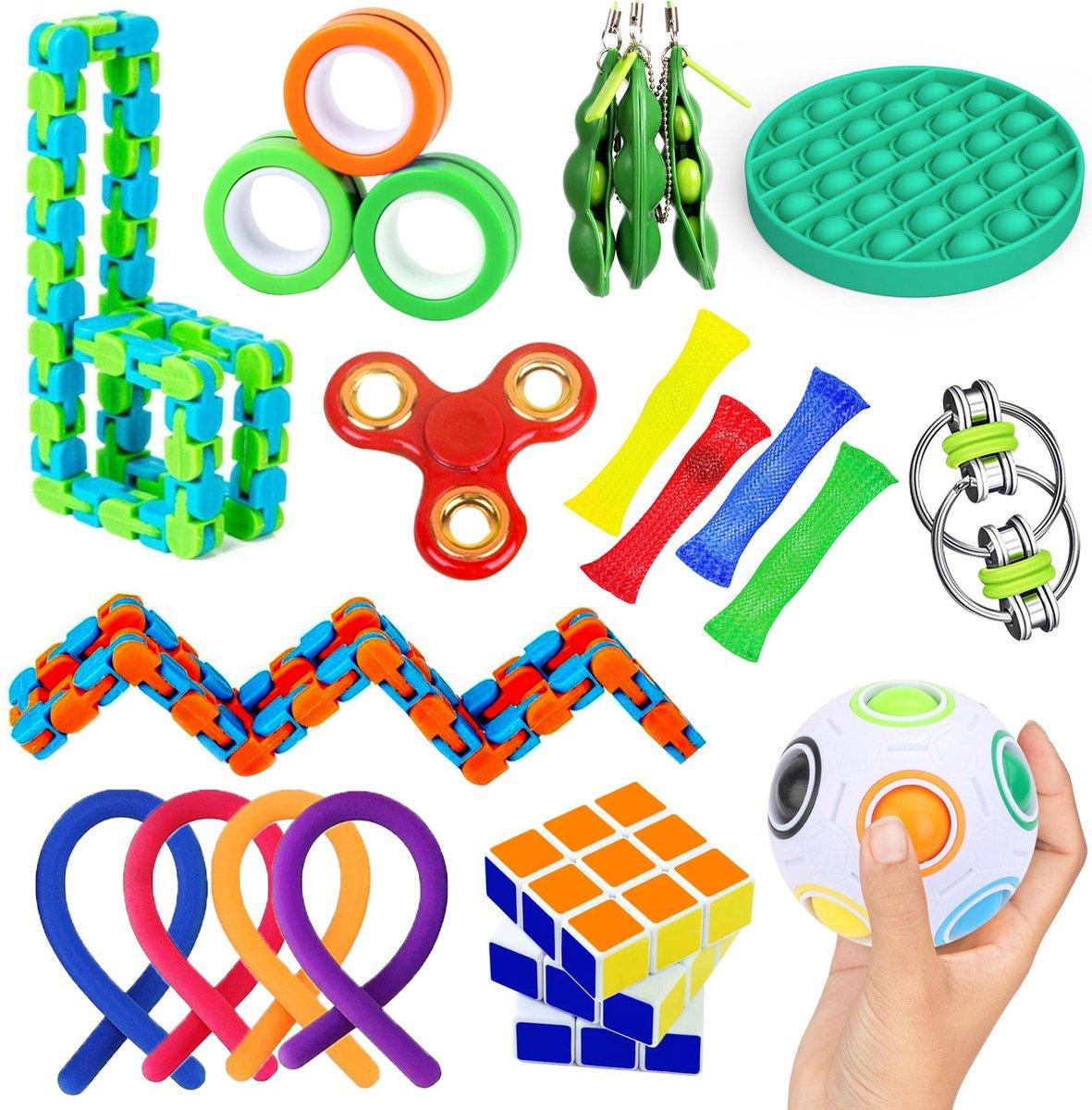 Fidget Toys Pakket Van TikTok 20 Stuks Inclusief Pop It, Magnetische Ringen, Monkey Noodles, En Meer