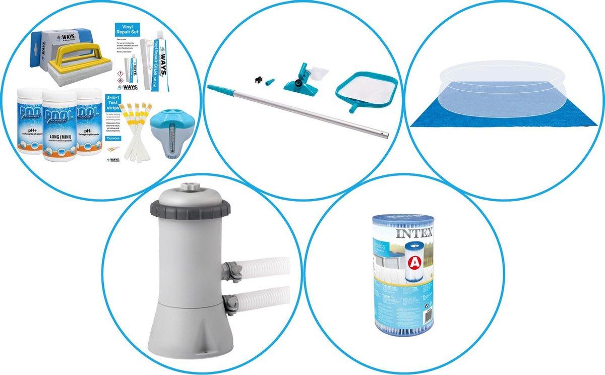Zwembad Accessoirepakket 4-delig - WAYS Onderhoudspakket & Filterpomp (28604GS) + Filter & Onderhoudsset & Grondzeil