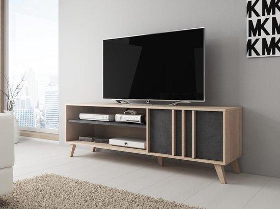 TV-Meubel Mira - Grijs - Licht eiken - 150 cm - ACTIE - MEUBELLA