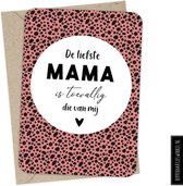 Kaart moederdag 'De liefste mama is toevallig die van mij' - Moderne wenskaart - Ansichtkaart - Cadeau moeder