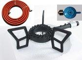 Driepoot gas/wokbrander met slang en drukregelaar 5.5 Kw - Zwart