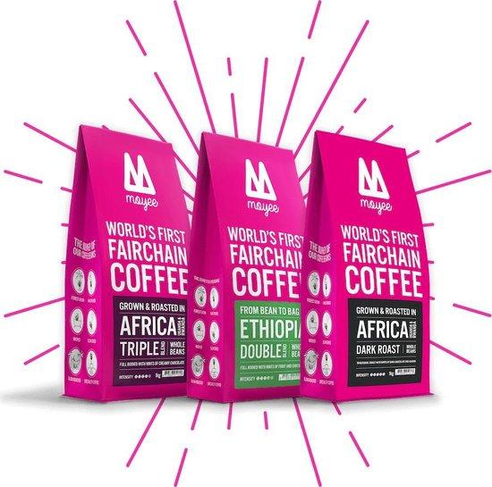 Moyee - Radically Good Coffee   Koffie Proefpakket koffiebonen 3 x 250 gram  Koffie Cadeaupakket   Koffiepakket   Vers en licht gebrand   FairChain = FairTrade 2.0   Specialty koffie   Afrika   Espresso