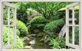 PB-Collection - Tuindoek doorkijk Raam Japanse Tuin - 70x110cm - Tuinposter - Tuin decoratie - Tuinposters buiten – Tuinschilderij – Poster Buiten – Buitencanvas - Tuinbanner