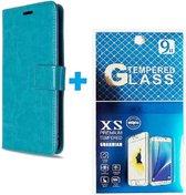 Motorola Moto E6i / E6 Plus hoesje book case + 2 stuks Glas Screenprotector turquoise