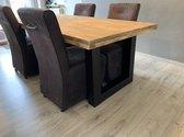 Eettafel Tendenza 3 (rechthoek) - 1.60 x 0.90 tafelblad steigerhout, stalen X-, of U-poten   Quattro Design